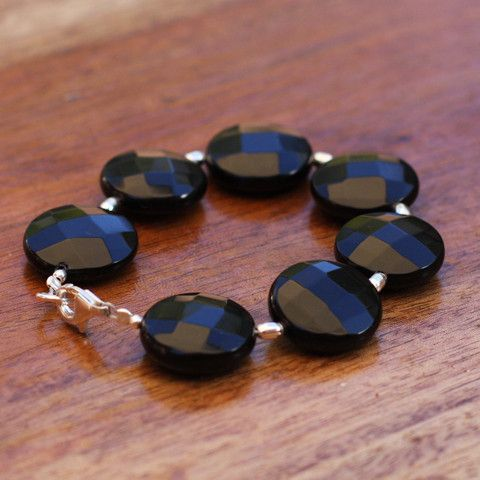 Onyx and Sterling Silver Bracelet - SilverBellas $22.00