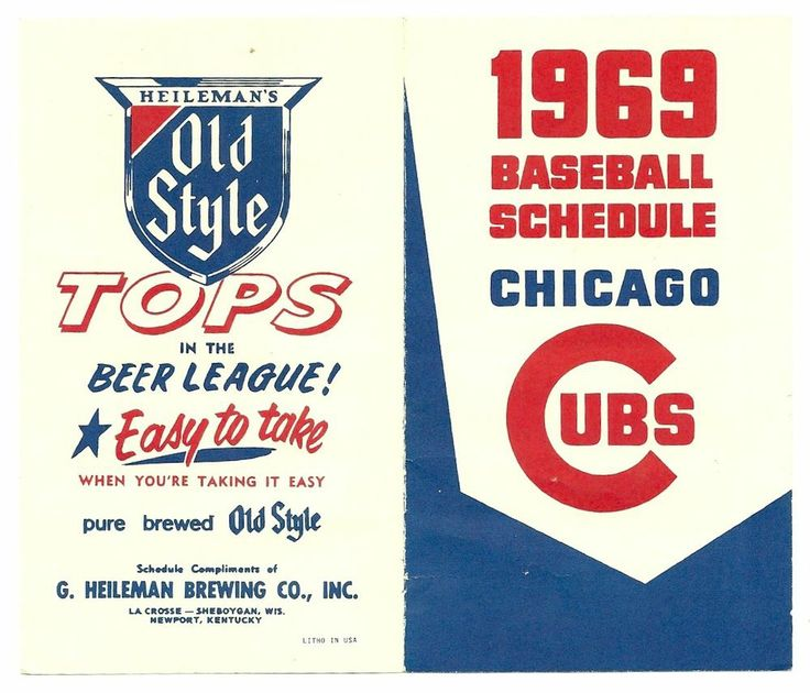 1969 Chicago Cubs Baseball schedule , measures 3x5 , clean!