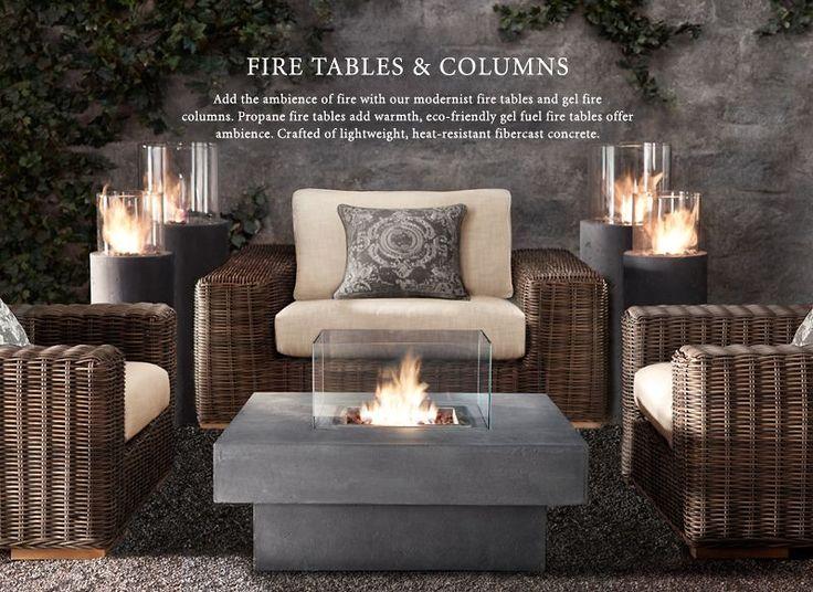 Restoration Hardware: Fire Pits, Laguna Concrete, Outdoor Living, Fire Column, Patio, Outdoor Spaces, Firepit, Garden, Fire Table