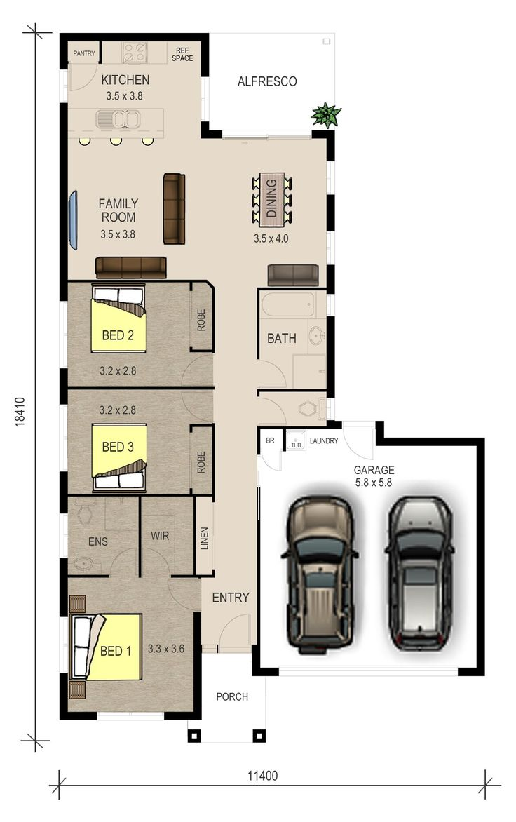 Single Storey floor plan The Ivy Double Garage floor