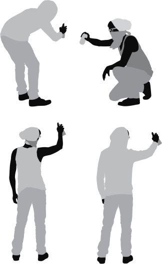 Vectores libres de derechos: Multiple images of men doing graffiti