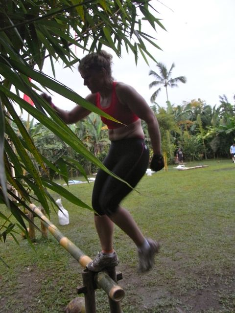 Step-ups on to bamboo challenges your balance at the same time. Natural materials in a fitness session are irregular shapes/weights giving you an extra workout and guaranteeing a tropical fitness session-induce sweat!