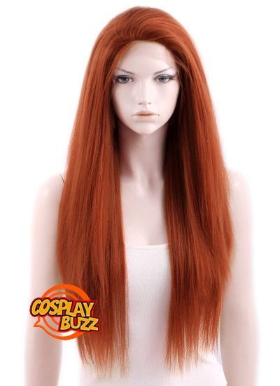 "18"" / 24"" / 28"" Long Straight Yaki Reddish Orange Customizable Lace Fr"