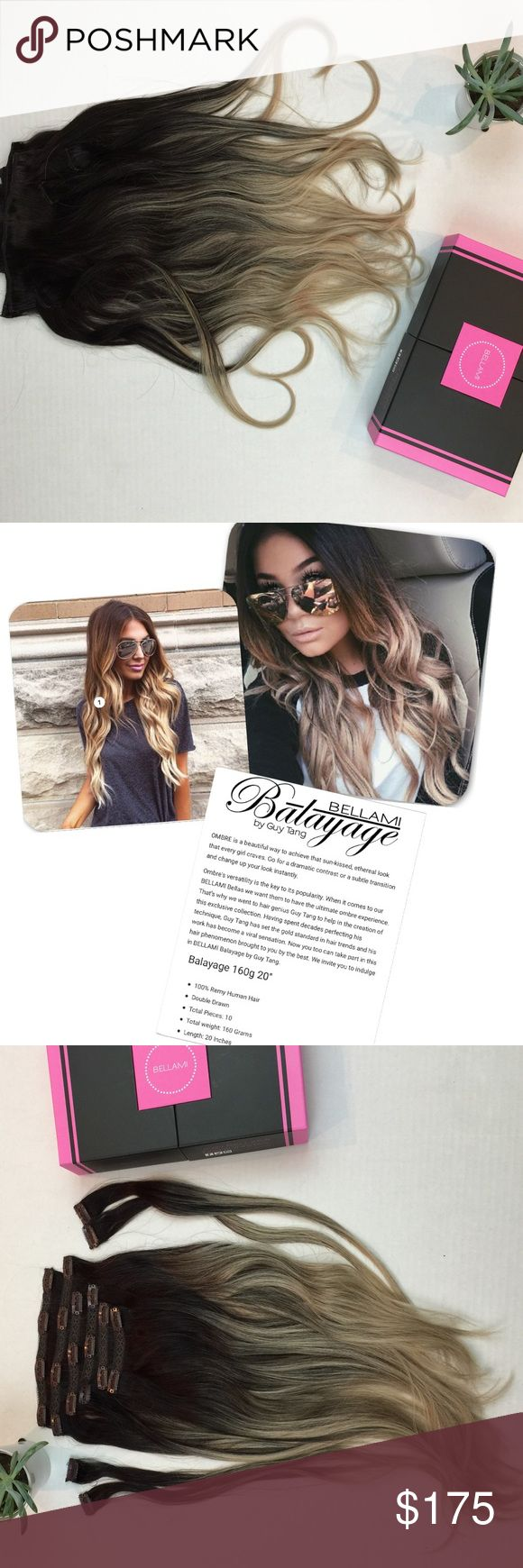 NEW ll • Bellami Balayage Hair Extensions PRICE FIRM • Trades • New In Box • Color: #1C/18 • Style: Bellami Balayage by Guy Tang • New in original package. Never Worn. • Total weight: 160 grams • Total Pieces: 10 • Length: 20 inches • 100% Remi Human Hair • Bag and Storage Box included • Balayage Range Contains: 1 x 8 inch wefts 1 x 7 inch wefts 2 x 6 inch wefts 2 x 4 inch wefts 4 x 1.5 inch wefts BELLAMI Other