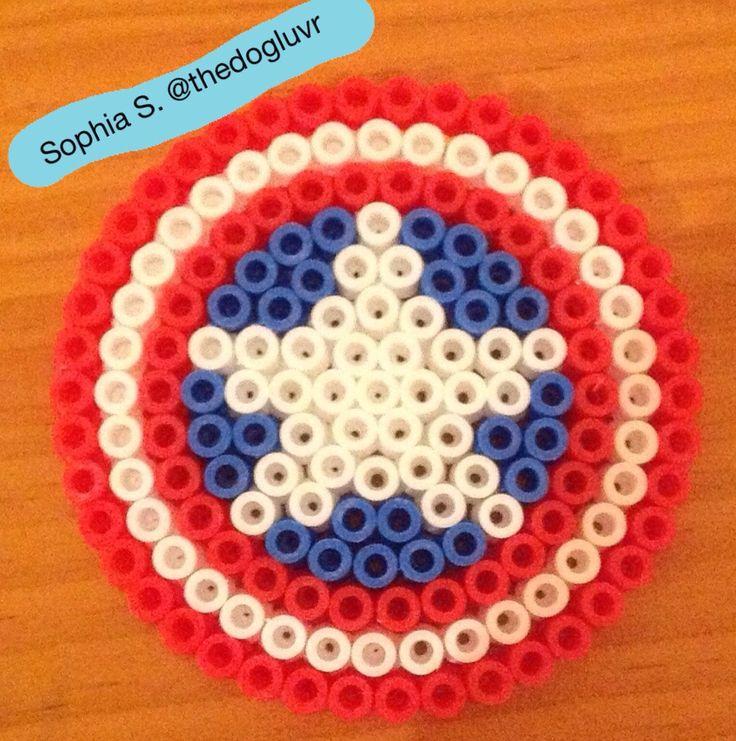 Perler Beads - Captain America's Shield by Sophia S.