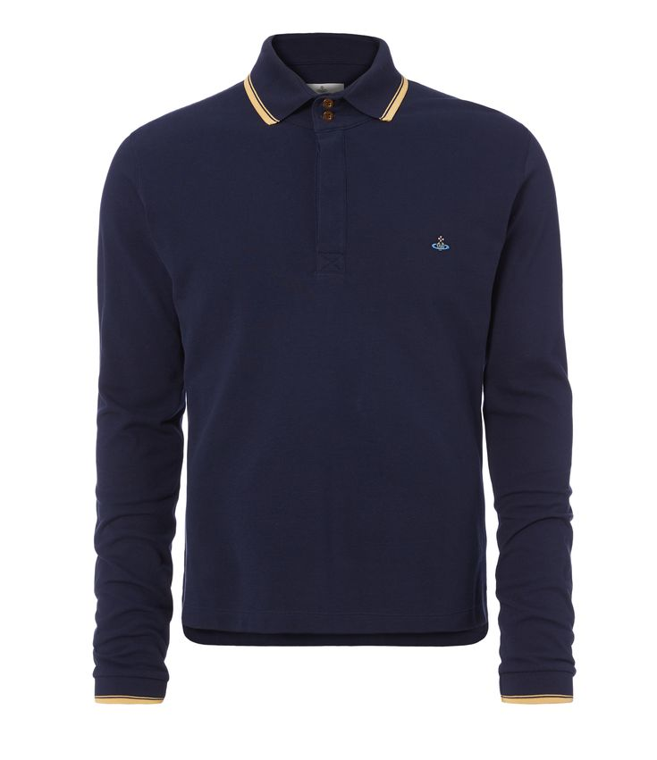 VIVIENNE WESTWOOD Long Sleeved Polo Shirt Navy. #viviennewestwood #cloth #