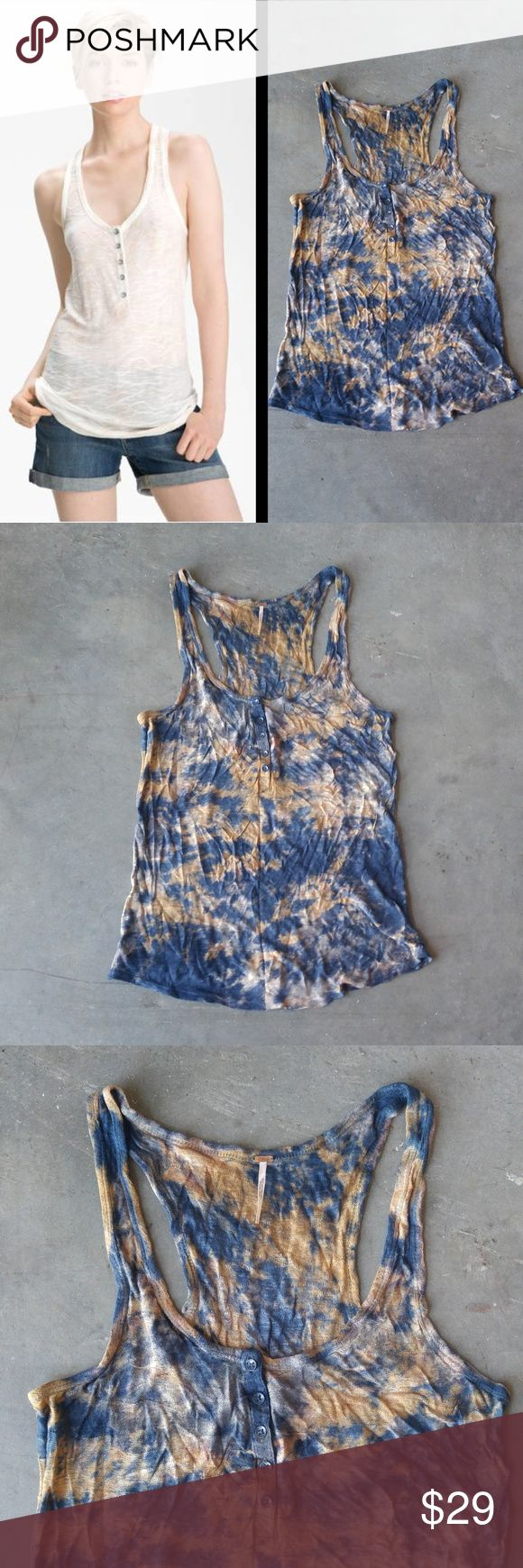 Free People Ocean Breeze Tank in Tie Dye Free People tank top, size large, in excellent condition! Henley style with front buttons and longer length. Blue and brown tie dye. A great casual tank for warmer months! Cover photo from Nordstrom website. No trades. No modeling. Make a reasonable offer. Thanks! Free People Tops Tank Tops