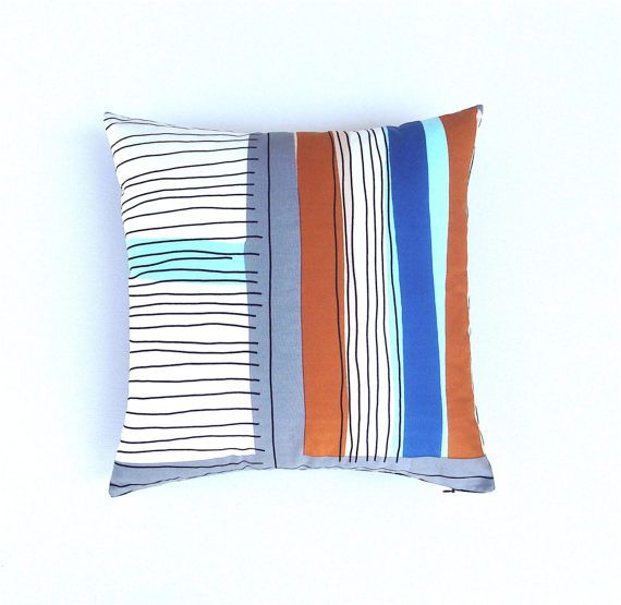 Marimekko Striped Pillow Cover. Graphic Black Lines and Burnt