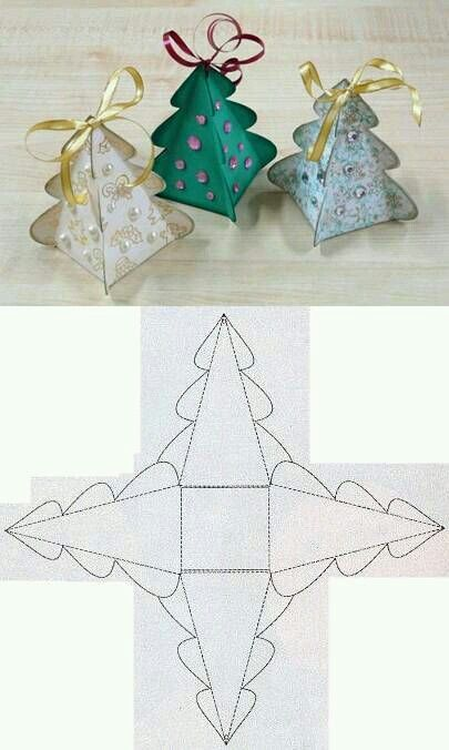 christmas tree paper gift box wrapping fold diy