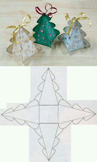 christmas tree paper gift box wrapping fold diy