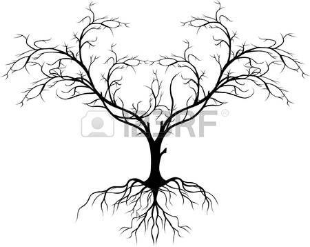 arbre nu: silhouette d'arbre sans feuille