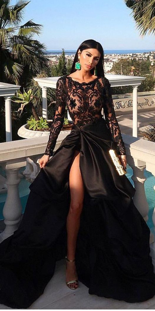 fashion formal scoop long sleeves prom party dresses with lace eadc376b30ec