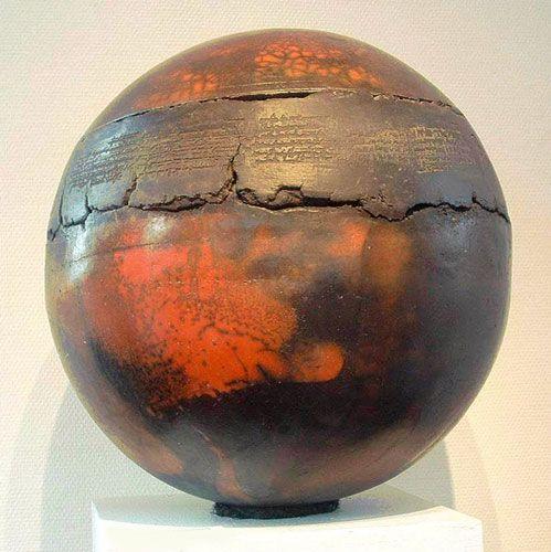Sphère alchimique ( diam. : 50cm-Raku nu sur terre sigillée)