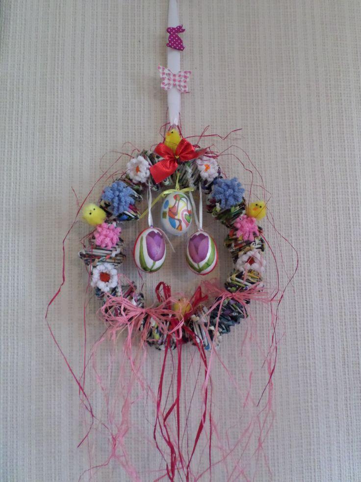 Húsvéti/tavaszi koszorú hullámos spirálfonással + horgolás + szalvéta tech-val. Papírfonás Paper weaving