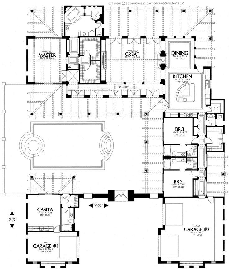 Home Plans  House Plan  Courtyard Home Plan Santa Fe Style Home