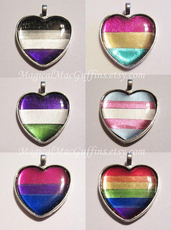 These shiny hearts were modeled after the flags for asexual, pansexual, genderqueer, transgender, bisexual, gay, and agender pride. They're