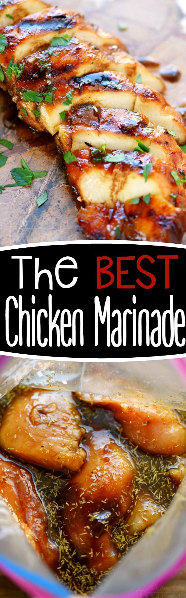 Look no further for the Best Chicken Marinade recipe ever! This easy chicken marinade recipe is going to quickly become your favorite go-to marinade! This marinade produces so much flavor and keeps the chicken incredibly moist and outrageously delicious - try it today!: