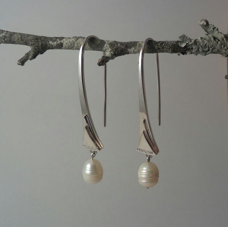 Alexandra Astafeva. Silver Earrings.  Pearls. Cubic Zirconias
