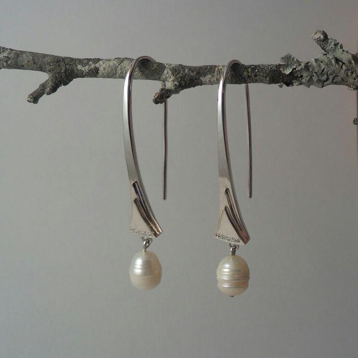 Alexandra Astafeva. Silver Earrings.  Pearls. Cubic Zirconias