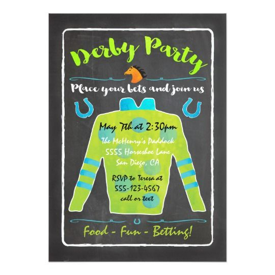 Chalkboard Derby Horse Racing Party Invitation Zazzle Com