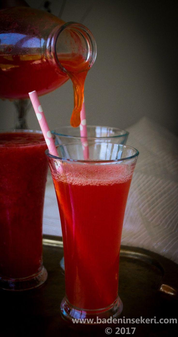 Şekersiz Çilekli Pratik Limonata
