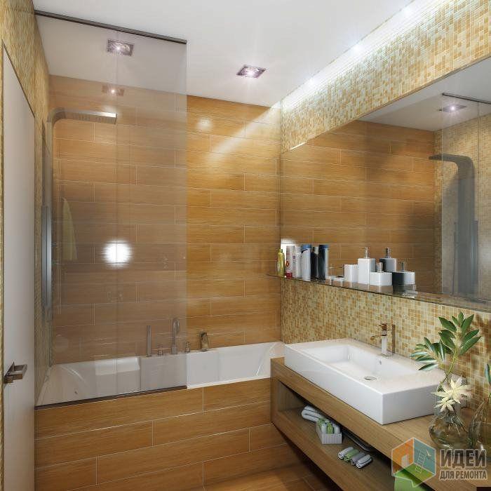 Ванная комната, дерево и мозаика, проект дизайна ванной комнаты, санузла, сантехника для ванной, деревянная мебель в ванной комнате | Идеи для ремонта