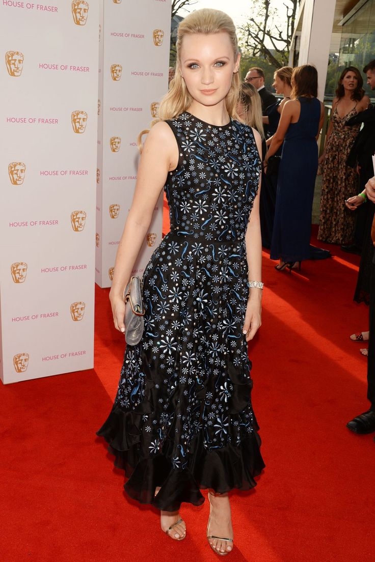 Emily Berrington wearing Holly Fulton at the House of Fraser British Academy Television Awards in London