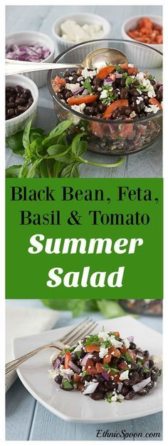 A great clean eating healthy recipe. Black bean, feta, basil, red onion and tomato salad. Try a great cool summer salad with bright herb flavors of basil and thyme. | http://ethnicspoon.com