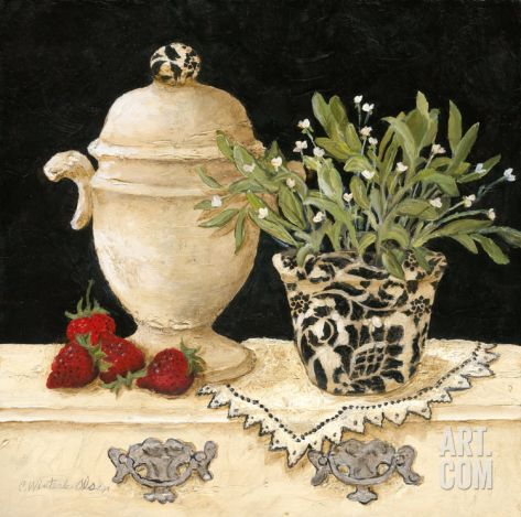 Strawberry Still Life Art Print by Charlene Winter Olson at Art.com