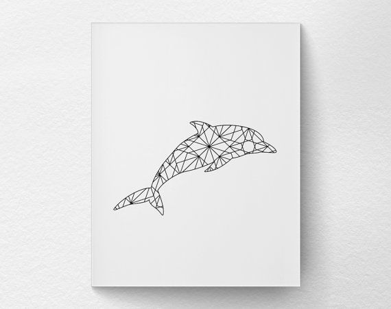 Dolphin Art Dolphin Print Geometric Dolphin by LotusLeafCreations