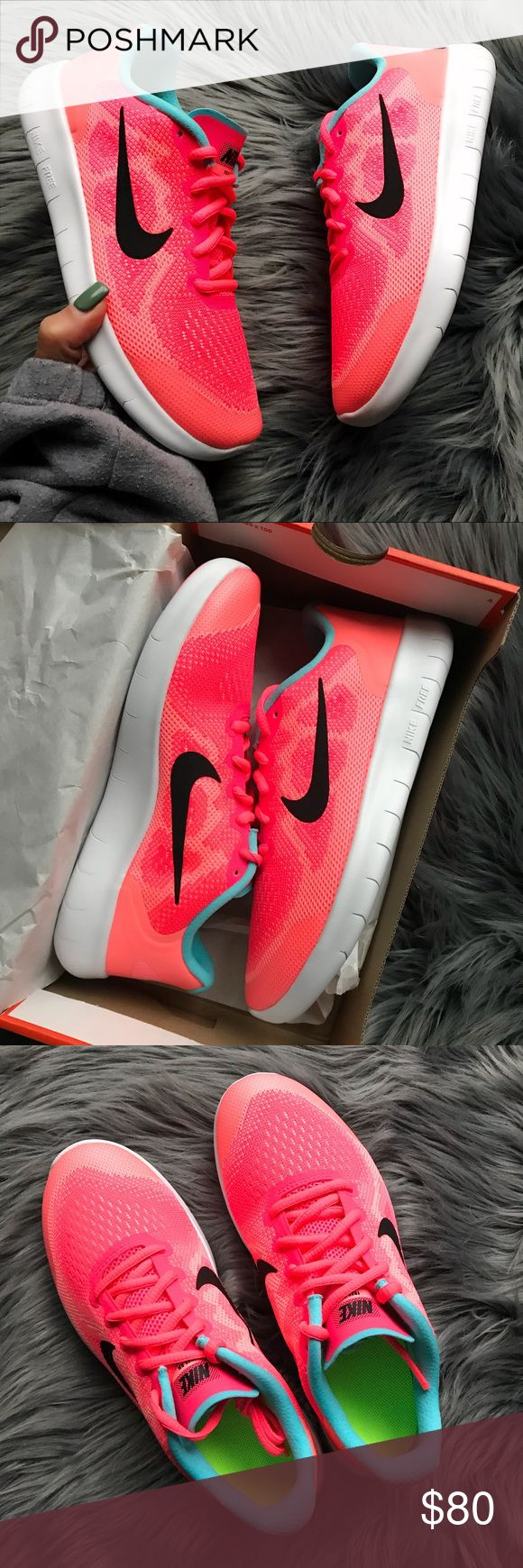 NWB  NIKE FREE RN FITS SIZE 7 WOMEN BRAND NEW, NIKE FREE! Cute, cozy & comfy NIKES ...COLOR: LAVA GLOW & RACER PINK FULL ORIGINAL BOX  ORDER YOUR WOMANS SHOE SIZE  5.5y = 7 WOMEN  ALL SIZES LISTED ACCORDING TO NIKE'S SIZE CHART.   Ships same or next day from my smoke free home.   PRICED FIRM, offers will be considered through the offer button only. Bundle to save.   100% authentic & direct from NIKE Nike Shoes Athletic Shoes