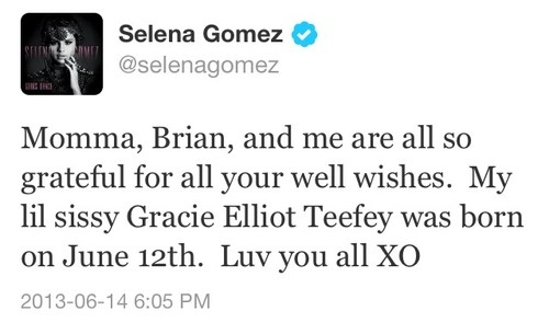 selena gomez tweets about her new little sister gracie