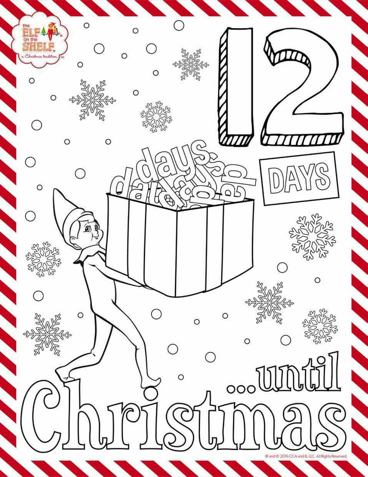 Elf on the shelf 12 days till Christmas coloring in sheet.