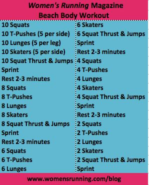 Beach Body Workout--Don't sprint to the beach, but if I found a lake I could.  Easy but fun moves.  I like the skater the best!