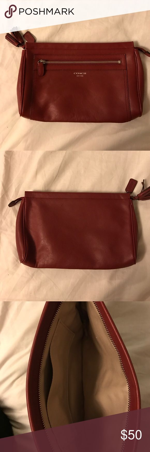 Coach Clutch Brand new coach clutch in a ox blood color. Large enough for everyday use or a night out Coach Bags Clutches & Wristlets