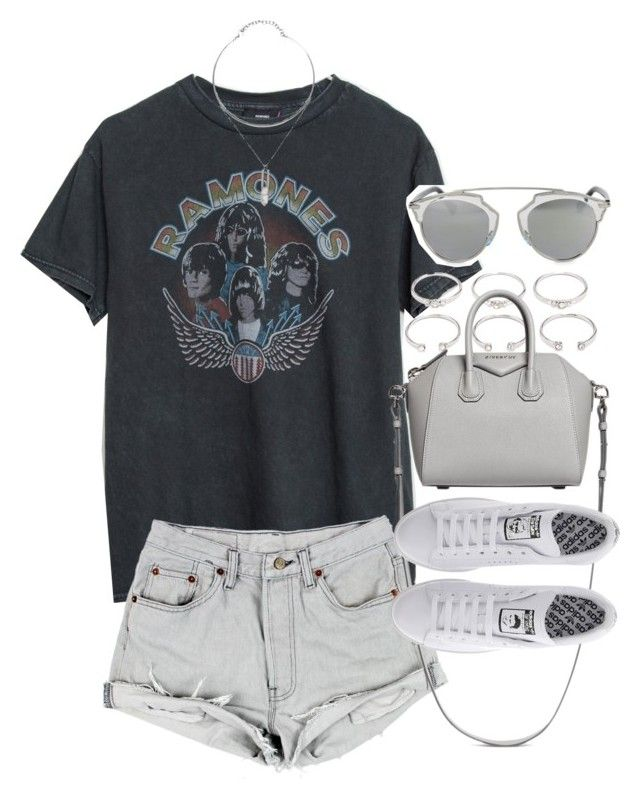"""""""Outfit for summer with a band tee"""" by ferned ❤ liked on Polyvore featuring Brandy Melville, Forever 21, Givenchy, adidas and Christian Dior"""