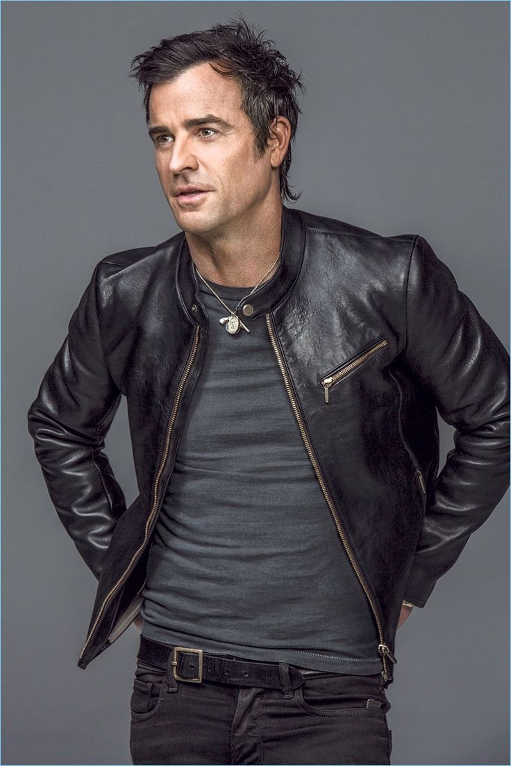 Actor Justin Theroux rocks an Ajmone leather jacket with a vintage t-shirt and belt. He also sports G-Star jeans.