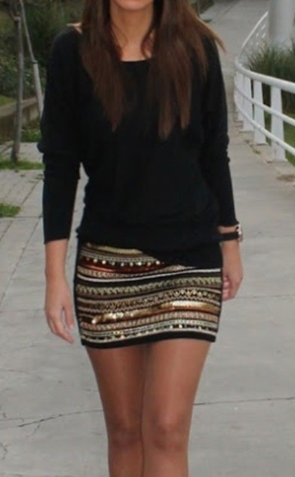 mini skirt with a sweater