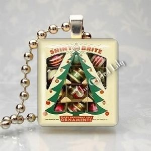 Vintage Shiny Brite Christmas Tree Ornaments Scrabble Tile Pendant Jewelry Charm | eBay