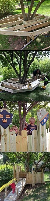Build a tree house / castle for the little ones. I like this idea, less fear of someone falling out of a tree.