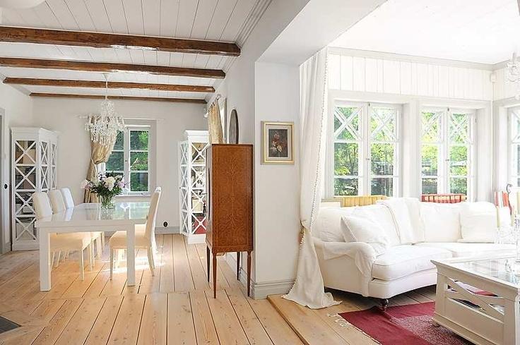 Exposed Floor Boards White Ceiling Wood Floor Living