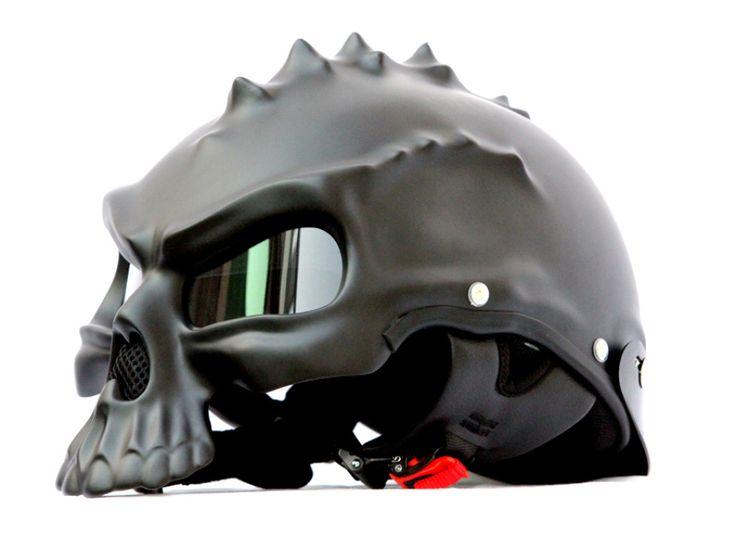 MASEI MATT BLACK SKULL 489 MOTORCYCLE CHOPPER HELMET FOR HARLEY DAVIDSON BIKER - Masei Helmets Online Stores