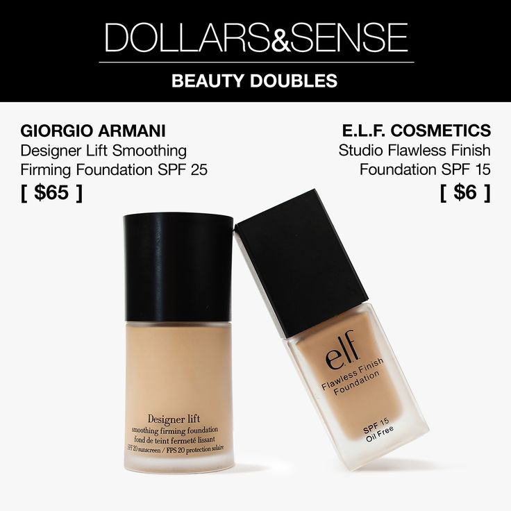 Love Giorgio Armani Designer Lift Smoothing Firming Foundation SPF 20 [$65]? Instead of the pricier Armani version, opt for e.l.f. Cosmetics Studio Flawless Finish Foundation SPF 15 [$6]! While it has a slightly lower SPF rating, it performs every bit as beautifully on skin. Bonus: It's fragrance-free! All that for $6. Click for the full review! #MakeupDupes #Beautypedia