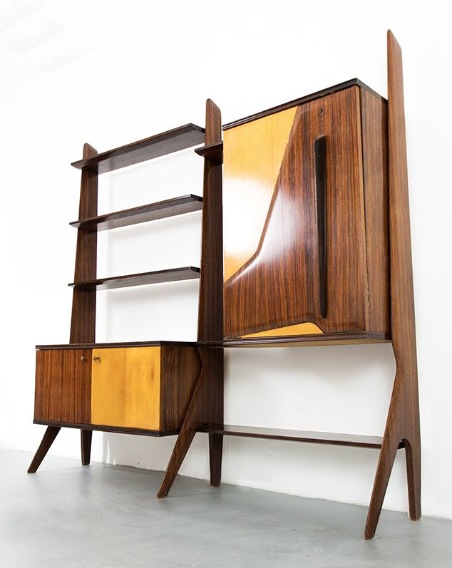 Ico Parisi; Rosewood and Oak Storage System, 1950s.