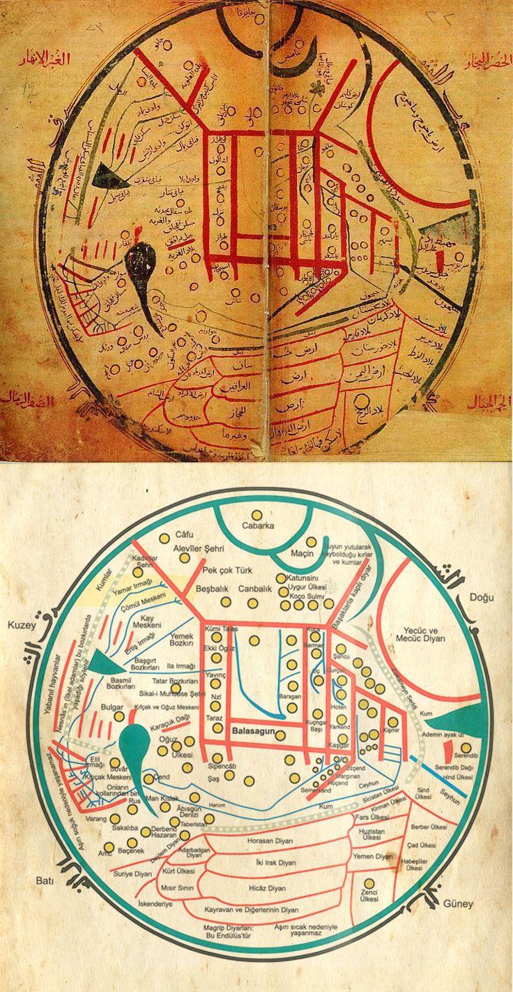"""Kaşgarlı (Uygur) Mahmud'un bundan yaklaşık bin yıl önce (1072) yazdığı """"Divanu Lügati't Türk"""" adlı eserde yer alan; Türk boylarının yaşadıkları bölgeleri 'pek çok Türk', Çin seddi'ni 'Zülkarneyn Seddi' ötesinde yaşayanlara da 'Yecüc ve Mecüç diyarı' olarak belirten haritanın aslı ve Türkçeleştirilmiş şekli."""
