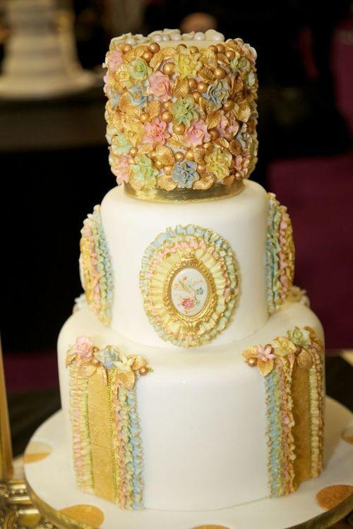 Gold Ornate Wedding Cake