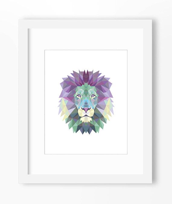Lion Print Lion Art Lion Wall Art Geometric Lion Print by Abodica