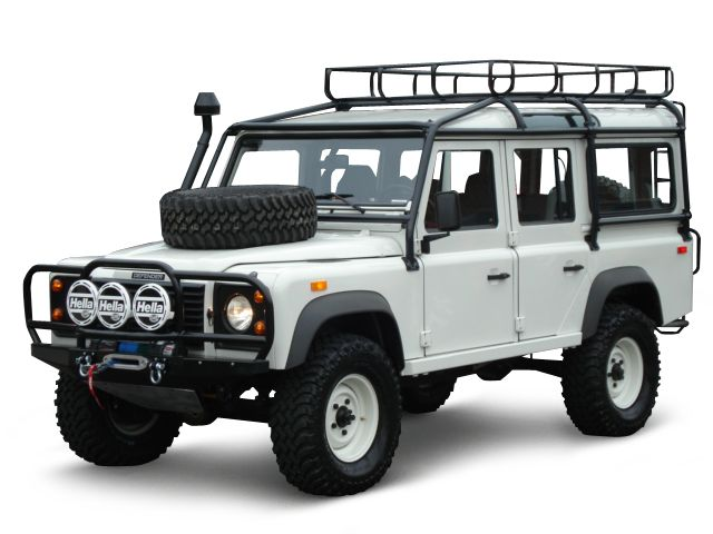 Land Rover Defender 110 - All the go-anywhere ruggedness of a Jeep with the interior space and towing capacity of a Suburban! Must have accessories as shown, luggage rack, lights, spare tire on hood, and totally the snorkel