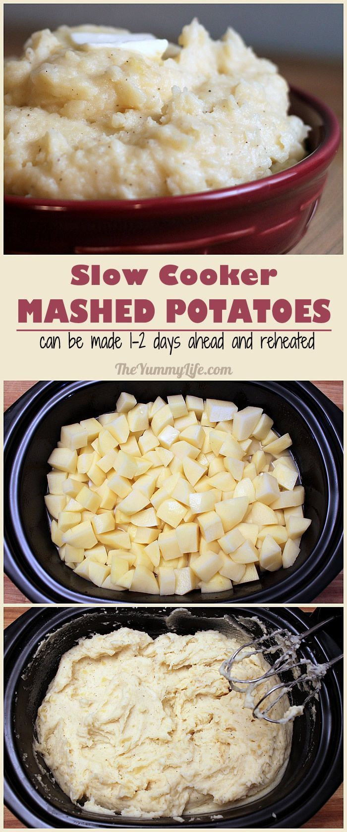 Slow Cooker Mashed Potatoes. Cook them ahead and keep them warm without using any stove-top space. Great for Thanksgiving and holiday cooking. Tips for choosing the right potatoes & avoiding gluey potatoes. from The Yummy Life