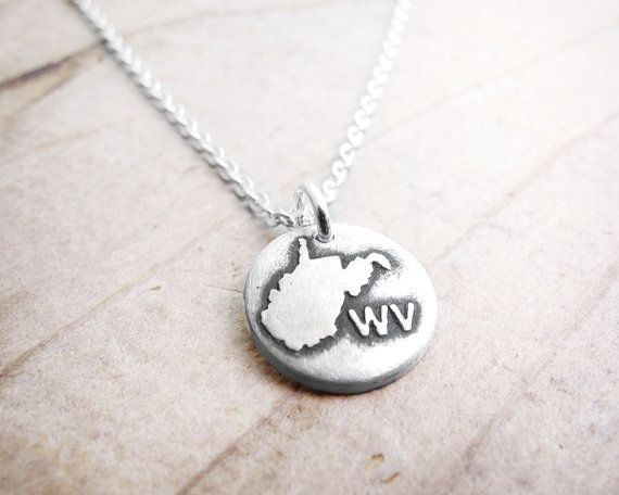 Tiny West Virginia necklace silver map jewelry by lulubugjewelry, $30.00